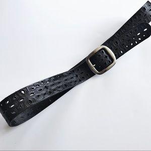 Fossil - Black Laser Cut Leather Belt